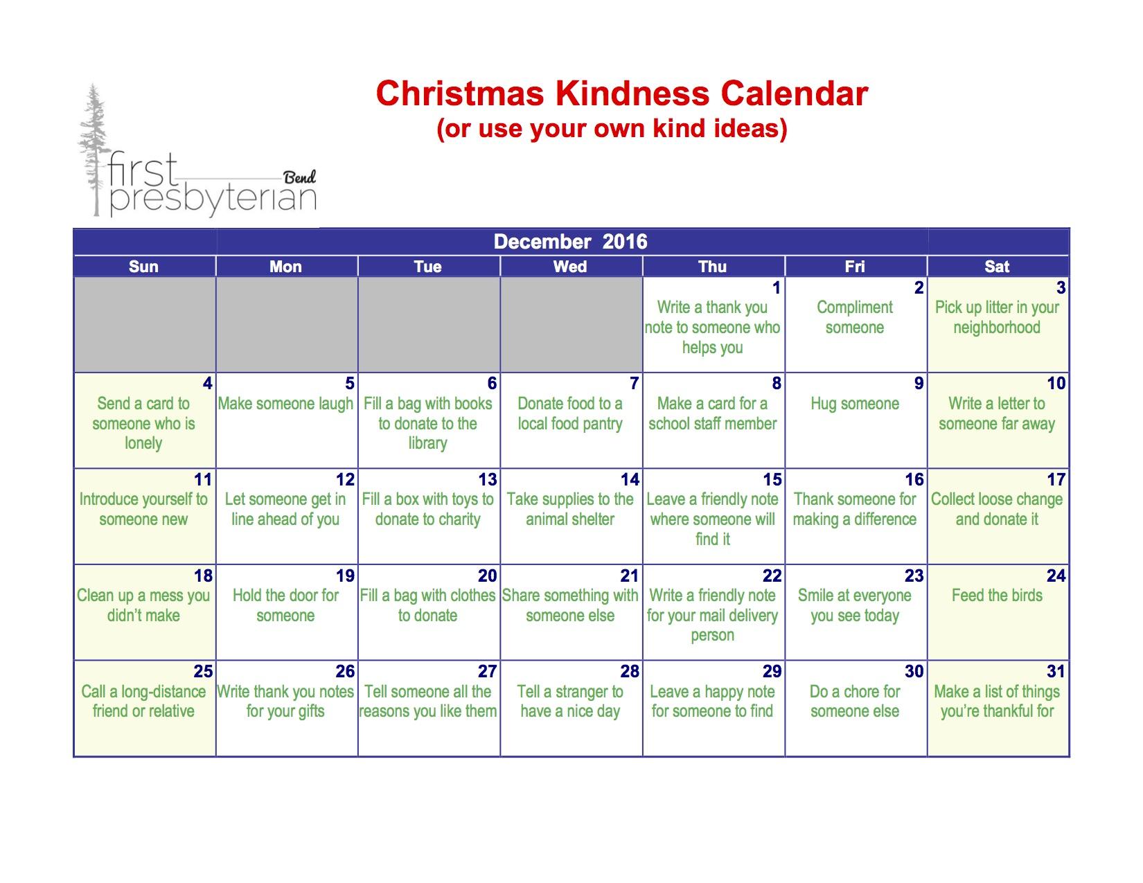 Christmas kindness calendar first presbyterian bend oregon christmas kindness calendar solutioingenieria Image collections